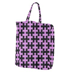 Puzzle1 Black Marble & Purple Colored Pencil Giant Grocery Zipper Tote