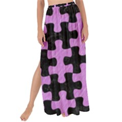 Puzzle1 Black Marble & Purple Colored Pencil Maxi Chiffon Tie Up Sarong