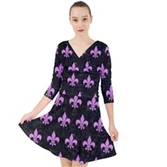 Royal1 Black Marble & Purple Colored Pencil Quarter Sleeve Front Wrap Dress