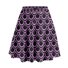 Scales2 Black Marble & Purple Colored Pencil (r) High Waist Skirt