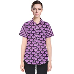 Scales3 Black Marble & Purple Colored Pencil Women s Short Sleeve Shirt