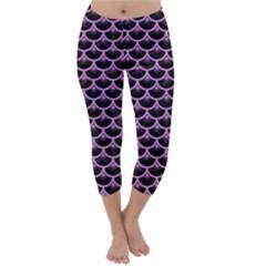 Scales3 Black Marble & Purple Colored Pencil (r) Capri Winter Leggings
