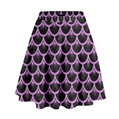 Scales3 Black Marble & Purple Colored Pencil (r) High Waist Skirt