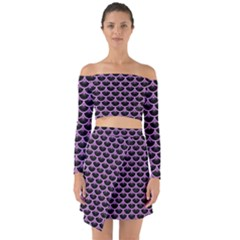 Scales3 Black Marble & Purple Colored Pencil (r) Off Shoulder Top With Skirt Set