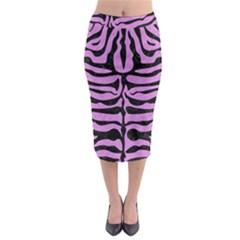 Skin2 Black Marble & Purple Colored Pencil Midi Pencil Skirt