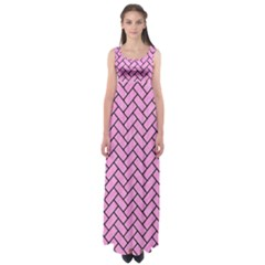 Brick2 Black Marble & Pink Colored Pencil Empire Waist Maxi Dress