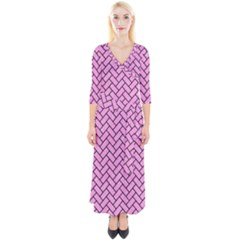 Brick2 Black Marble & Pink Colored Pencil Quarter Sleeve Wrap Maxi Dress