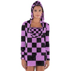 Square1 Black Marble & Purple Colored Pencil Long Sleeve Hooded T Shirt