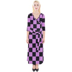 Square1 Black Marble & Purple Colored Pencil Quarter Sleeve Wrap Maxi Dress
