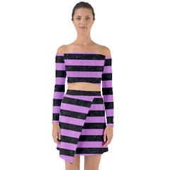 Stripes2 Black Marble & Purple Colored Pencil Off Shoulder Top With Skirt Set