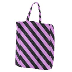 Stripes3 Black Marble & Purple Colored Pencil Giant Grocery Zipper Tote