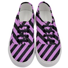 Stripes3 Black Marble & Purple Colored Pencil (r) Women s Classic Low Top Sneakers