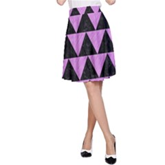 Triangle2 Black Marble & Purple Colored Pencil A Line Skirt