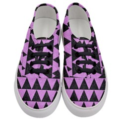 Triangle2 Black Marble & Purple Colored Pencil Women s Classic Low Top Sneakers