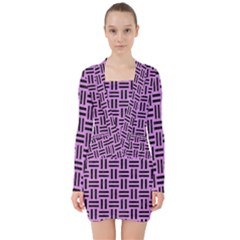 Woven1 Black Marble & Purple Colored Pencil V Neck Bodycon Long Sleeve Dress
