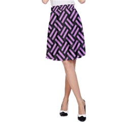 Woven2 Black Marble & Purple Colored Pencil (r) A Line Skirt