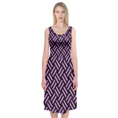Woven2 Black Marble & Purple Colored Pencil (r) Midi Sleeveless Dress