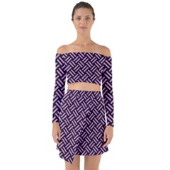 Woven2 Black Marble & Purple Colored Pencil (r) Off Shoulder Top With Skirt Set