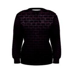 Brick1 Black Marble & Purple Leather (r) Women s Sweatshirt