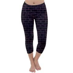 Brick1 Black Marble & Purple Leather (r) Capri Winter Leggings