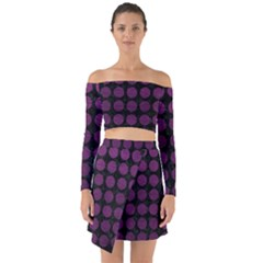 Circles1 Black Marble & Purple Leather (r) Off Shoulder Top With Skirt Set