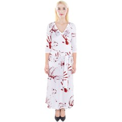 Massacre  Quarter Sleeve Wrap Maxi Dress