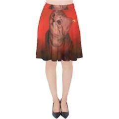Cute Little Kitten, Red Background Velvet High Waist Skirt