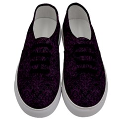 Damask1 Black Marble & Purple Leather (r) Men s Classic Low Top Sneakers
