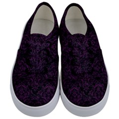 Damask1 Black Marble & Purple Leather (r) Kids  Classic Low Top Sneakers