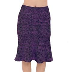 Damask2 Black Marble & Purple Leather (r) Mermaid Skirt