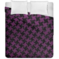 Houndstooth2 Black Marble & Purple Leather Duvet Cover Double Side (california King Size)