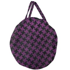 Houndstooth2 Black Marble & Purple Leather Giant Round Zipper Tote