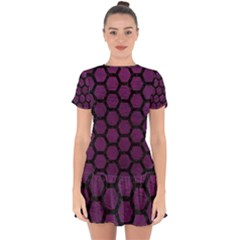 Hexagon2 Black Marble & Purple Leather Drop Hem Mini Chiffon Dress
