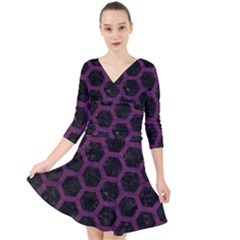 Hexagon2 Black Marble & Purple Leather (r) Quarter Sleeve Front Wrap Dress