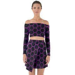 Hexagon2 Black Marble & Purple Leather (r) Off Shoulder Top With Skirt Set