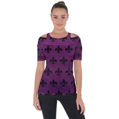 Royal1 Black Marble & Purple Leather (r) Short Sleeve Top