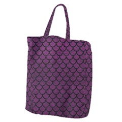 Scales1 Black Marble & Purple Leather Giant Grocery Zipper Tote