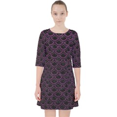 Scales2 Black Marble & Purple Leather (r) Pocket Dress
