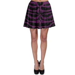 Skin2 Black Marble & Purple Leather (r) Skater Skirt