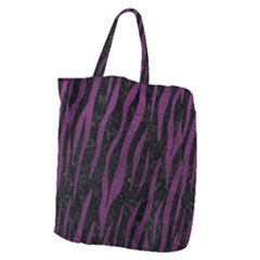 Skin3 Black Marble & Purple Leather (r) Giant Grocery Zipper Tote