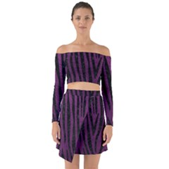 Skin4 Black Marble & Purple Leather (r) Off Shoulder Top With Skirt Set