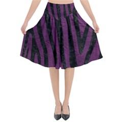 Skin4 Black Marble & Purple Leather (r) Flared Midi Skirt