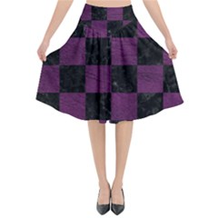 Square1 Black Marble & Purple Leather Flared Midi Skirt