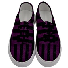 Stripes1 Black Marble & Purple Leather Men s Classic Low Top Sneakers