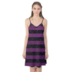 Stripes2 Black Marble & Purple Leather Camis Nightgown