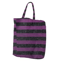 Stripes2 Black Marble & Purple Leather Giant Grocery Zipper Tote