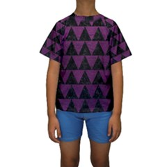 Triangle2 Black Marble & Purple Leather Kids  Short Sleeve Swimwear
