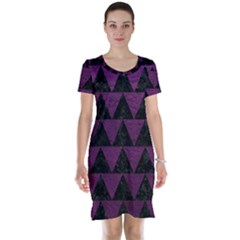 Triangle2 Black Marble & Purple Leather Short Sleeve Nightdress