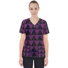 Triangle2 Black Marble & Purple Leather Scrub Top