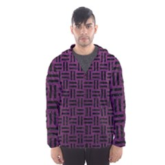 Woven1 Black Marble & Purple Leather Hooded Wind Breaker (men)